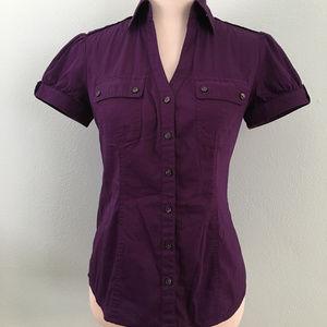 Express Design Studio Purple Short-Sleeve Shirt